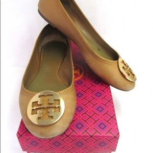 ‼️Tory Burch Tan Pebbled Leather Flats Size 9